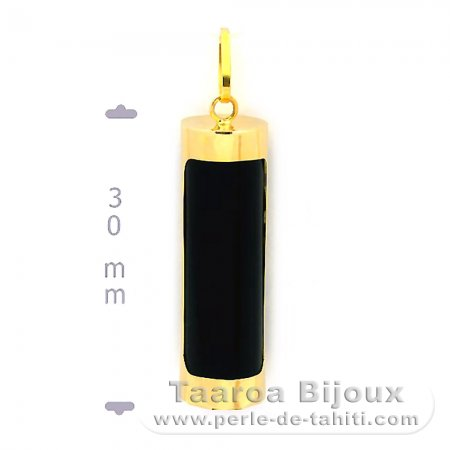 18K Gold Pendant and Black Agate - 30 mm - Abundance