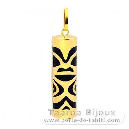 18K Gold Pendant and Black Agate - 30 mm - Chance