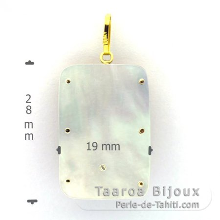 18K Gold + Mother-of-Pearl Pendant and 1 half Tahitian Pearl - Dimensions = 28 x 19 mm - Tiki