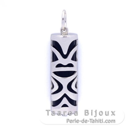 Silver and Black Agate Tiki - 30 mm - Luck