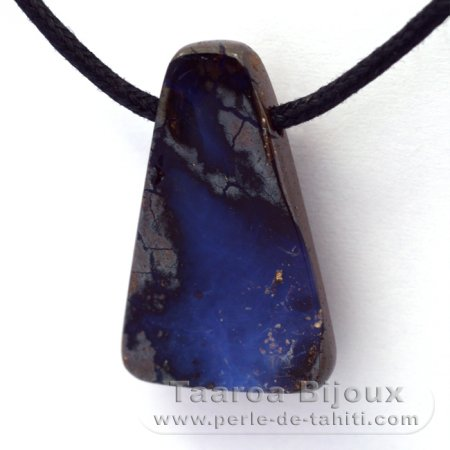 Waxed cotton Necklace and 1 Boulder Australian Opal - 18.6 carats