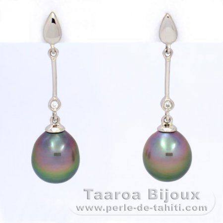 Rhodiated Sterling Silver Earrings and 2 Tahitian Pearls Semi-Baroque B 9.1 mm