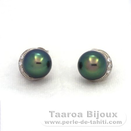 Rhodiated Sterling Silver Earrings and 2 Tahitian Pearls Semi-Baroque B+ 9.3 mm