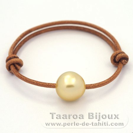 Leather Bracelet and 1 Australian Pearl Baroque C 12.9 mm