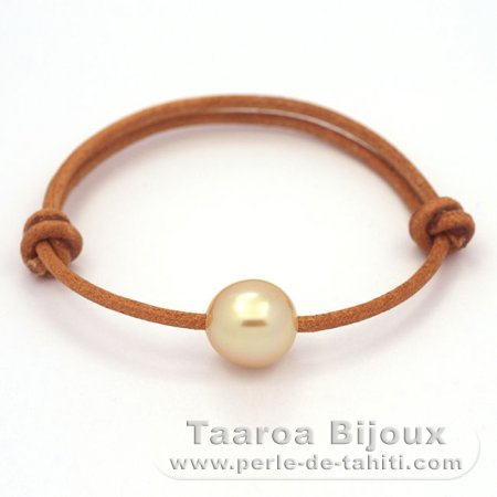 Leather Bracelet and 1 Australian Pearl Semi-Baroque C 11.1 mm
