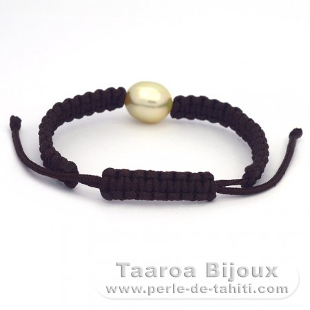 Nylon Bracelet and 1 Australian Pearl Semi-Baroque B 10.8 mm