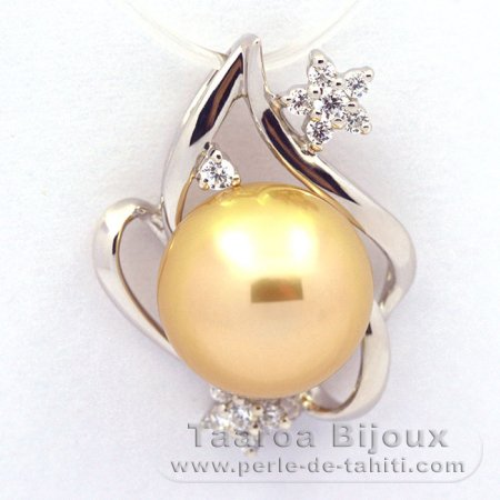 Rhodiated Sterling Silver Pendant and 1 Tahitian Australian Pearl Semi-Baroque C 11.1 mm