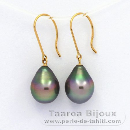 18K solid Gold Earrings and 2 Tahitian Pearls Semi-Baroque B 9.1 mm
