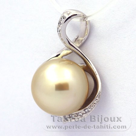 .925 Solid Silver Pendant and 1 tahitian Australian Pearl Round C 10.9 mm