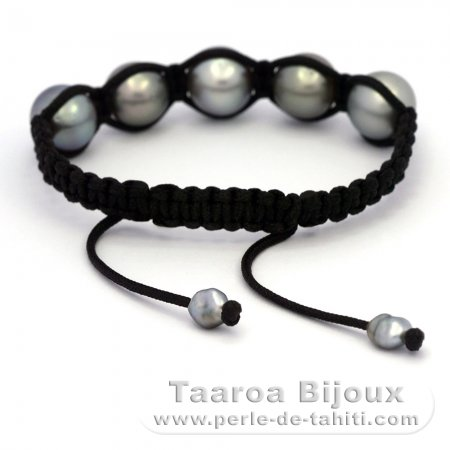 Nylon Bracelet, 5 Tahitian Pearls Semi-Baroque C from 11.2 to 12.2 mm and 2 keishis