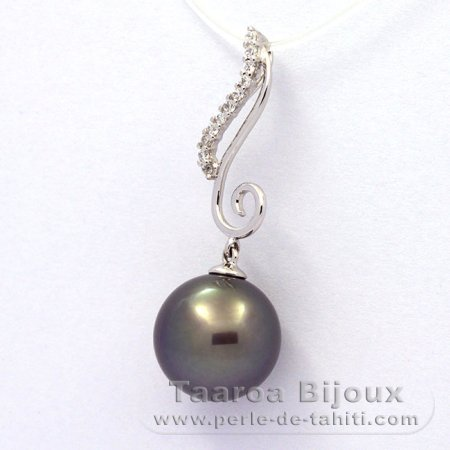 .925 Solid Silver Pendant and 1 tahitian Pearl Round C 12.3 mm