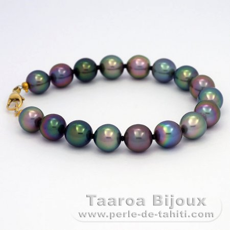Bracelet with 17 Tahitian Pearls Semi-Baroque B+ from 8.7 to 9.3 mm and 18K solid Gold