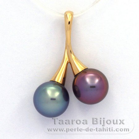 18K solid Gold Pendant and 2 tahitian Pearls Round B+ 10.2 mm