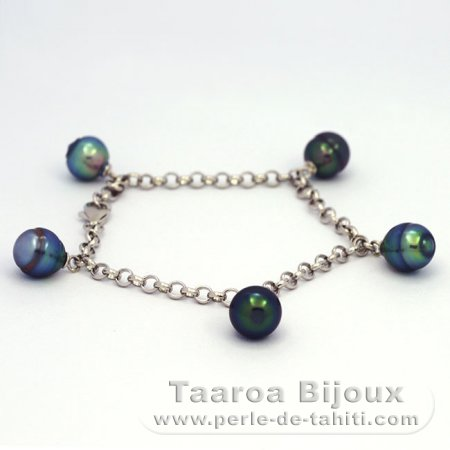 .925 Solid Silver Bracelet and 5 tahitian Pearls Ringed B from 8.7 to 8.9 mm