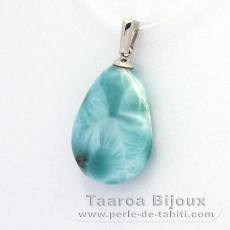 Rhodiated Sterling Silver Pendant and 1 Larimar - 18 x 14 x 6.5 mm - 2.7 gr