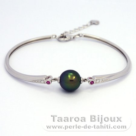 Rhodiated Sterling Silver Bracelet and 1 Tahitian Pearl Near-Round C+ 10 mm