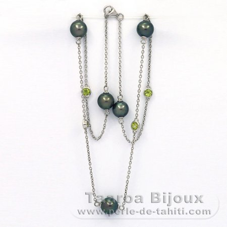 .925 Solid Silver Necklace and 5 tahitian Pearls Near-Round C from 8.5 to 8.9 mm