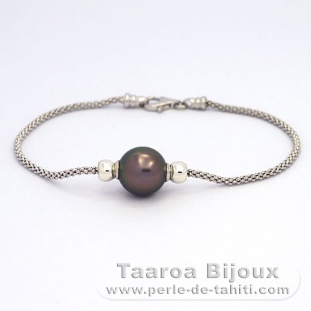 .925 Solid Silver Bracelet and 1 tahitian Pearl Near-Round C 10.8 mm