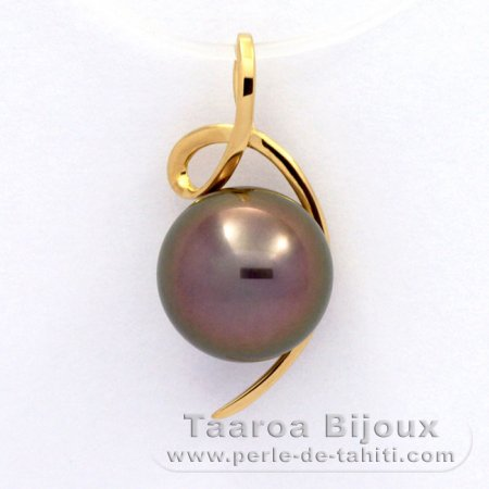 18K solid Gold Pendant and 1 Tahitian Pearl Round B 9.7 mm