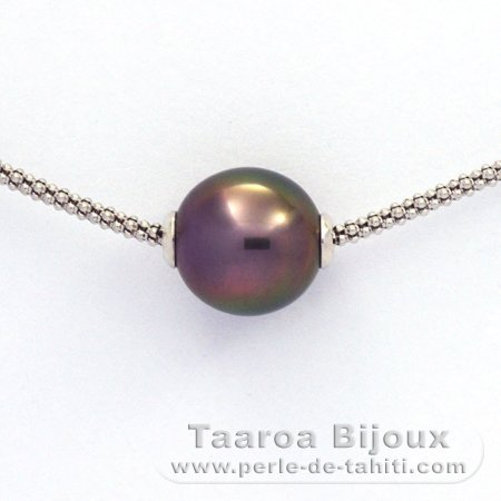 .925 Solid Silver Necklace and 1 tahitian Pearl Semi-Baroque B 11.3 mm