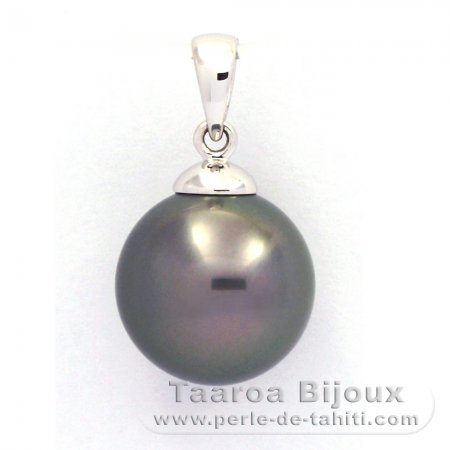 18K Solid White Gold Pendant and 1 tahitian Pearl Round B 11.8 mm
