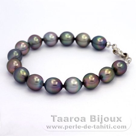 Rhodiated Sterling Silver Bracelet and 15 Tahitian Pearls Semi-Baroque B from 9 to 9.4 mm