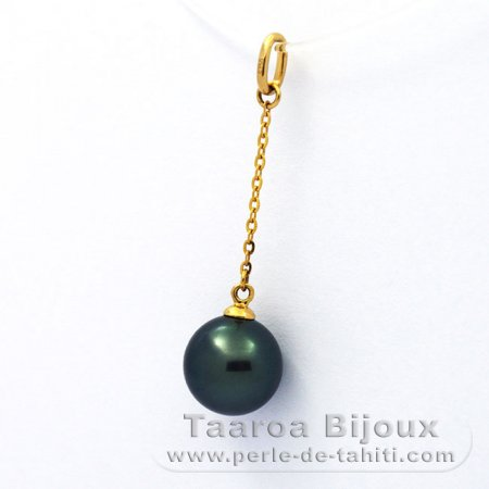 18K solid Gold Pendant and 1 Tahitian Pearl Round A 9 mm