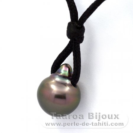 Waxed Cotton Necklace and 1 Tahitian Pearl Semi-Baroque C 11.7 mm