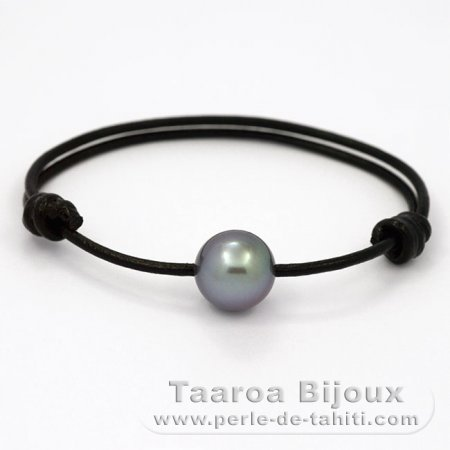 Leather Bracelet and 1 tahitian Pearl Round C 13 mm