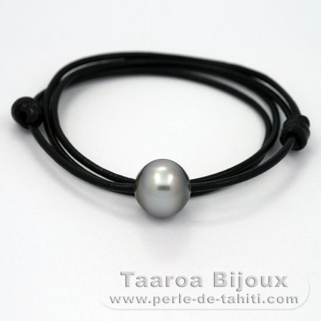 Leather Necklace and 1 tahitian Pearl Semi-Baroque C 13.9 mm