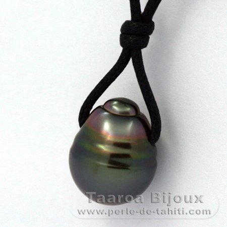 Waxed Cotton Necklace and 1 Tahitian Pearl Ringed C 13.8 mm