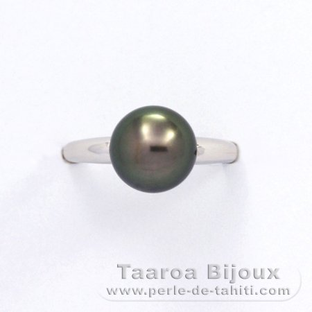 Rhodiated Sterling Silver Ring and 1 Tahitian Pearl Round B 8.9 mm