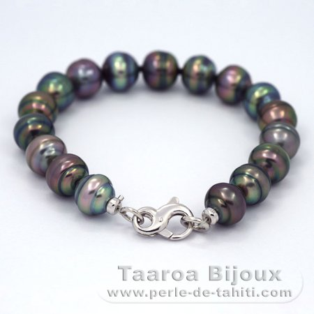 17 Tahitian Pearls Ringed B from 9.8 to 10.5 mm Bracelet and .925 Solid Silver