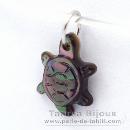Tahitian Mother-of-pearl small Turtle - 13 x 7.7 mm