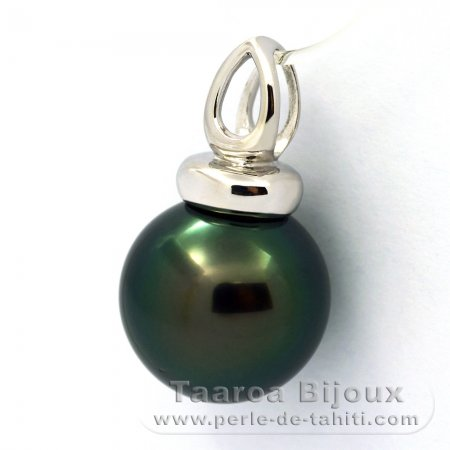 Rhodiated Sterling Silver Pendant and 1 Tahitian Pearl Round C+ 13.5 mm