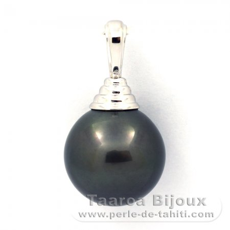 Rhodiated Sterling Silver Pendant and 1 Tahitian Pearl Round C 12.7 mm