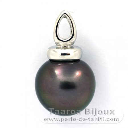 .925 Solid Silver Pendant and 1 Tahitian Pearl Near-Round C 13.5 mm
