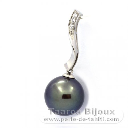 .925 Solid Silver Pendant and 1 Tahitian Pearl Round C 11.8 mm