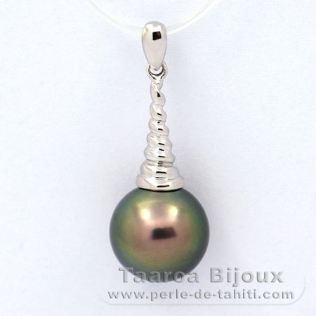 Rhodiated Sterling Silver Pendant and 1 Tahitian Pearl Round C 11 mm