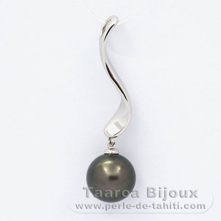 .925 Solid Silver Pendant and 1 tahitian Pearl Round C 11.1 mm