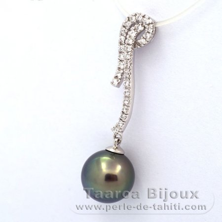 Rhodiated Sterling Silver Pendant and 1 Tahitian Pearl Round C 10.2 mm