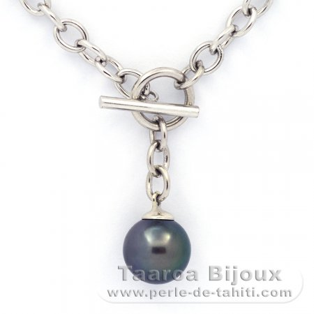 .925 Solid Silver Bracelet and 1 Tahitian Pearl Round C 10.7 mm