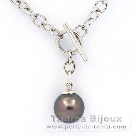 .925 Solid Silver Bracelet and 1 Tahitian Pearl Round C 11.1 mm