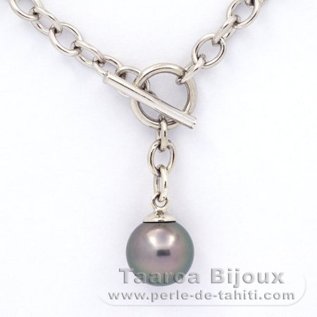 .925 Solid Silver Bracelet and 1 Tahitian Pearl Round C 10.2 mm