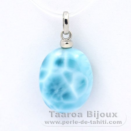 Rhodiated Sterling Silver Pendant and 1 Larimar - 17 x 13.5 x 6.7 mm - 2.75 gr