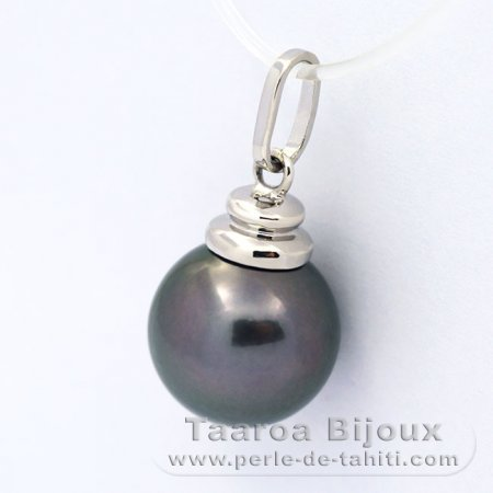 Rhodiated Sterling Silver Pendant and 1 Tahitian Pearl Round C 11.1 mm