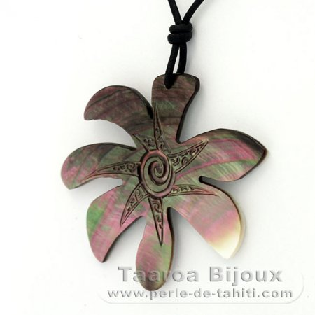 Uru Leaf Mother-of-Pearl Pendant and Leather Necklace