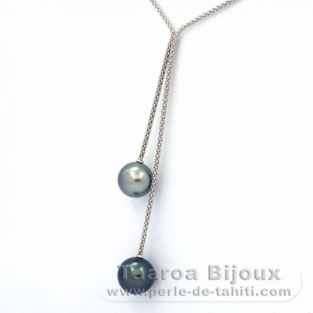 .925 Solid Silver Necklace and 2 Tahitian Pearls Round C+ 12.1 and 12.5 mm