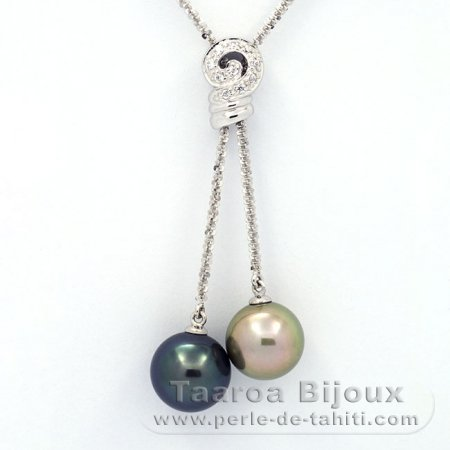 .925 Solid Silver Necklace and 2 Tahitian Pearls Round C+ 11.7 and 12 mm