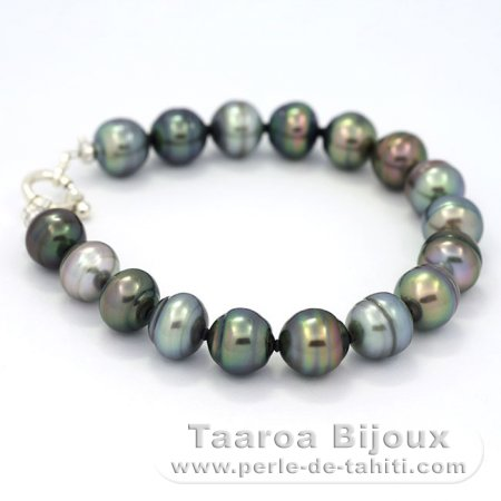 17 Tahitian Pearls Ringed C+ 10 to 10.3 mm Bracelet and Rhodiated Sterling Silver